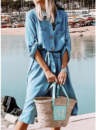 Solid Long Sleeves Shift Shirt Casual Midi Dresses