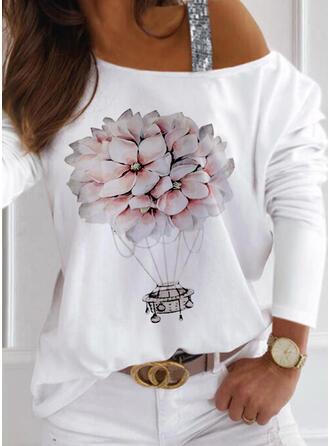 Kwiatowy Nadruk cekiny Na jedno ramię Długie rękawy T-shirty