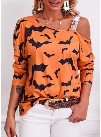 Halloween Nadruk Na jedno ramię Długie rękawy Nieformalny Bluzki