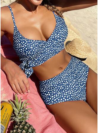 Groszki Wiązane W prążki Dekolt w kształcie litery V Modny Cygański Nieformalny Bikini Stroje kąpielowe
