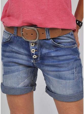Jednolity Dżinsowa Nad kolanem Nieformalny Zabytkowe Duży rozmiar Pocket shirred Przycisk Spodnie Szorty Dżinsy