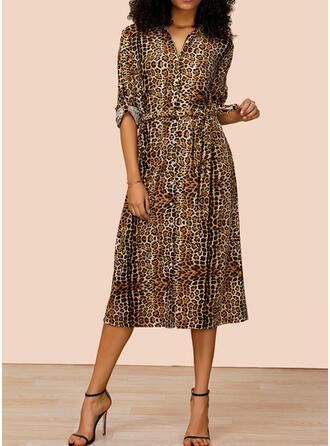 lampart Długie rękawy W kształcie litery A Koszula Casual Midi Sukienki