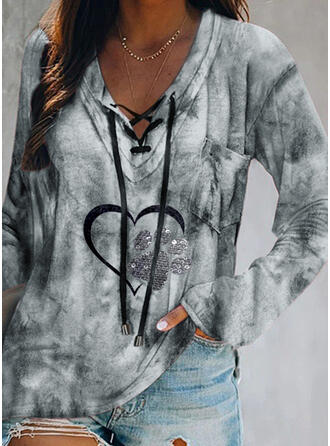 Sequins Tie Dye V-Neck Long Sleeves Casual Blouses