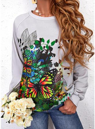 Nadruk butterfly Okrągły dekolt Długie rękawy Bluza