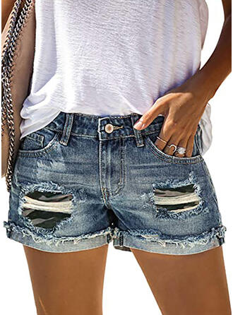 Kamuflaż Bawełna Nieformalny Zabytkowe Pocket Ripped Przycisk Spodnie Szorty Dżinsy