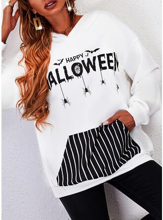 Halloween Nadruk W paski Wytłaczany Długie rękawy Bluza z kapturem
