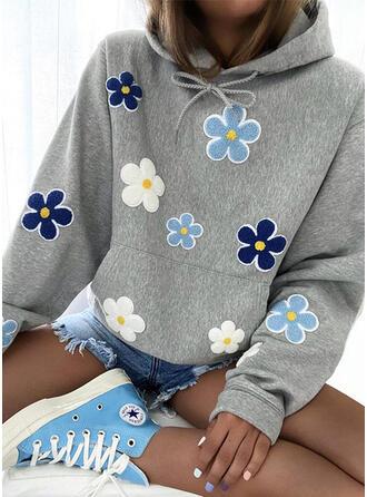 Kwiatowy Długie rękawy Bluza z kapturem