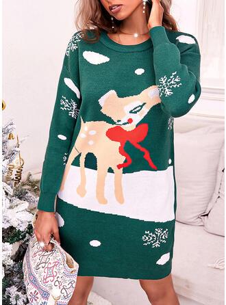 Boże Narodzenie Nadruk Deer Snowflake Okrągły dekolt Nieformalny Sukienka sweterkowa