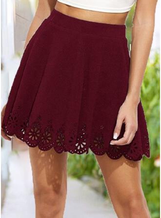 Polyester Plain Mini A-Line Skirts
