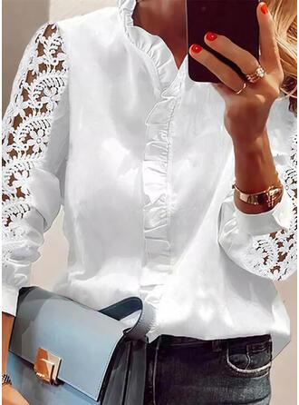 Jednolity Koronka Sztywny kołnierzyk Rękawy 3/4 shim sleeve Nieformalny Bluzki