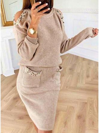 Jednolita/Wysadzana perełkami Długie rękawy/Odkryte ramię Bodycon Długośc do kolan Casual Sweter Sukienki