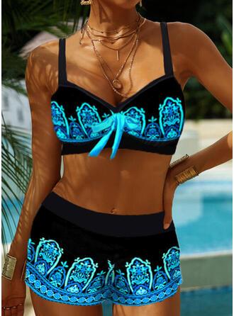 Kolor splotu W prążki Dekolt w kształcie litery V Duży rozmiar Boho Bikini Stroje kąpielowe