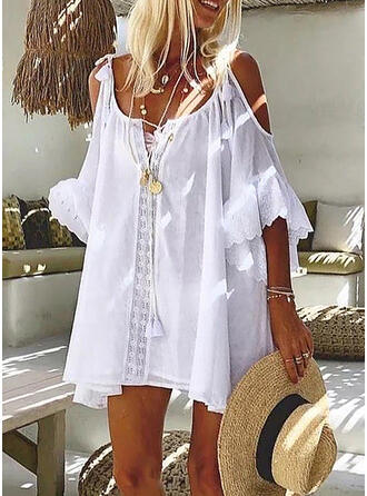 Lace/Solid 3/4 Sleeves Shift Above Knee Casual/Vacation Tunic Dresses