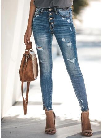 Kieszenie Podarte Długo Elegancki Seksowny Dżinsy