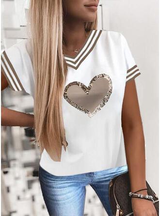 Serce Nadruk cekiny W paski Dekolt w kształcie litery V Krótkie rękawy T-shirty