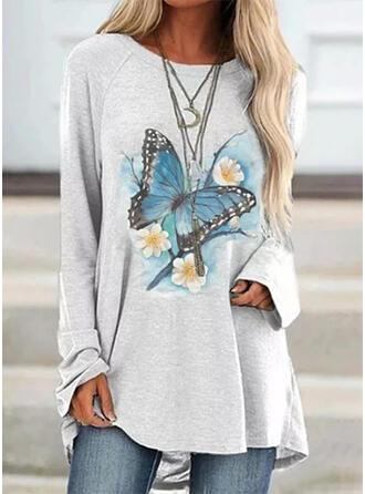 Kwiatowy Okrągły dekolt Długie rękawy Bluza