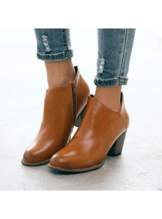 Dla kobiet PU Obcas Slupek Botki Spiczasty palec u nogi Z Zamek błyskawiczny Jednolity kolor obuwie