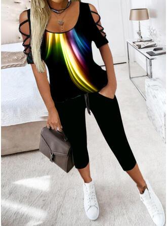 Nadruk Nieformalny Duży rozmiar bluzka & Spodnie Stroje dwuczęściowe zestaw