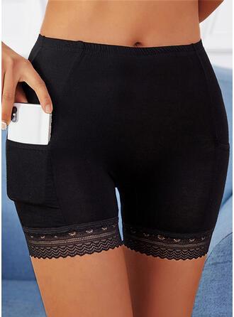 Jednolity Koronka Nad kolanem Nieformalny Pocket Spodnie Szorty Sztylpy