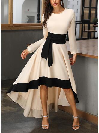 Wyszczuplająca Długie rękawy W kształcie litery A Asymetryczna Casual/Przyjęcie/Elegancki Łyżwiaż Sukienki
