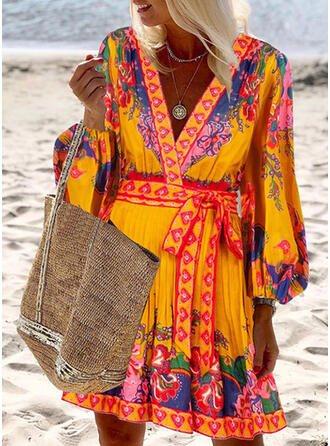 Print/Floral Long Sleeves/Lantern Sleeve A-line Above Knee Boho/Vacation Skater Dresses