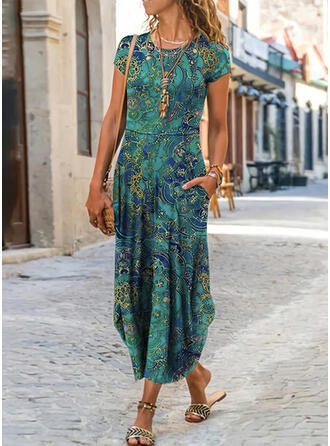 Print Short Sleeves A-line Skater Casual/Boho/Vacation Midi Dresses