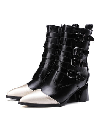 Dla kobiet Skóra ekologiczna Niski Obcas Kozaki Riding Boots Buty zimowe Buty bojowe obuwie