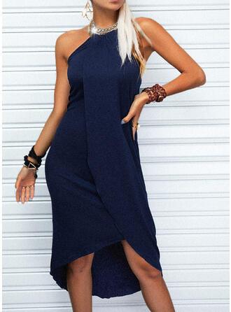 Jednolity Bez Rękawów Asymetryczny Nieformalny Łyżwiaż Sukienki