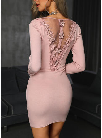 Lace/Solid/Backless Long Sleeves Bodycon Above Knee Little Black/Party/Elegant Dresses