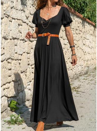 Jednolita Krótkie rękawy/Bufiaste rękawy W kształcie litery A Mała czarna/Casual/Elegancki Maxi Sukienki