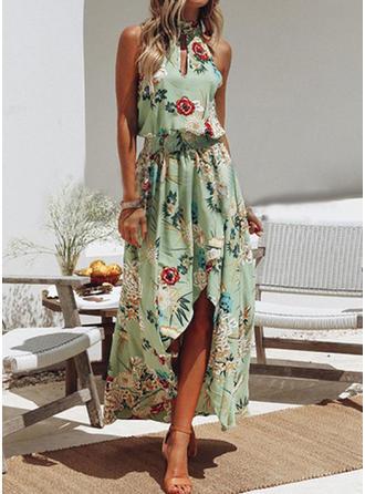 Nadrukowana/Kwiatowy Bez rękawów W kształcie litery A Asymetryczna Casual/Wakacyjna Sukienki