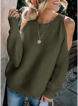Solid Cold Shoulder Long Sleeves Casual Elegant Knit Blouses