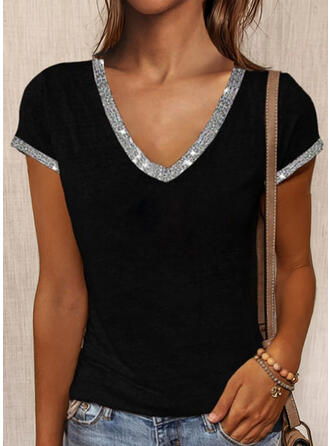 Sequins V-Neck Short Sleeves T-shirts