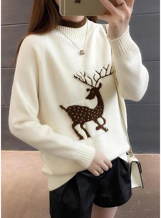 Damskie Bawełna Wydrukować Renifer Brzydki świąteczny sweter