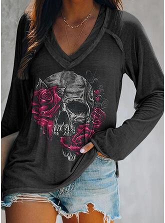 Halloween Kwiatowy Serce Nadruk Skull Head Dekolt w kształcie litery V Długie rękawy T-shirty