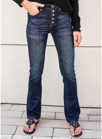 Jednolity Dżinsowa Długo Elegancki Zabytkowe Duży rozmiar Pocket Przycisk Dżinsy