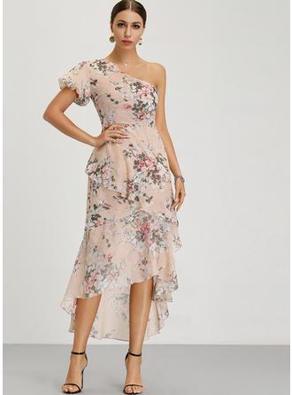 Nadrukowana/Kwiatowy Krótkie rękawy W kształcie litery A Asymetryczna Przyjęcie/Elegancki Sukienki