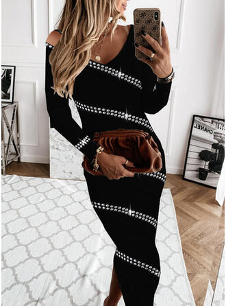 Nadruk Długie rękawy Bodycon Ołówkowa Elegancki Midi Sukienki