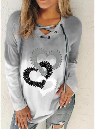 Nadruk Gradient Serce Dekolt w kształcie litery V Długie rękawy Bluza