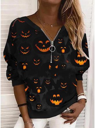 Halloween Nadruk Dekolt w kształcie litery V Długie rękawy Bluza