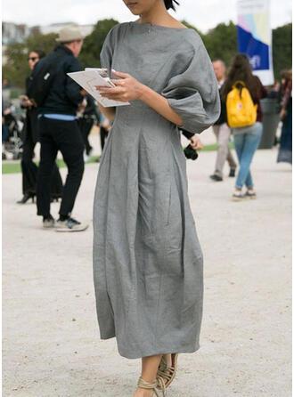 Jednolita Rękawy 3/4 Pokrowiec Mała czarna/Casual Midi Sukienki