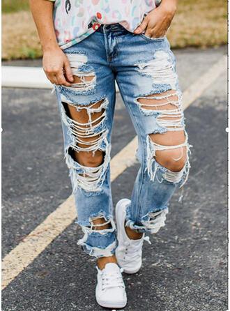 Jednolity Długo Nieformalny Długi Dżinsowa Spodnie