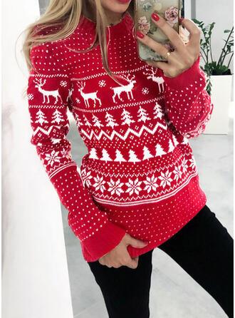Animal Print Round Neck Casual Christmas Sweaters