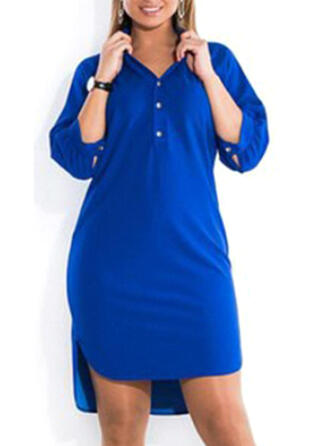 Plus Size Solid 1/2 Sleeves Shift Above Knee Casual Dress