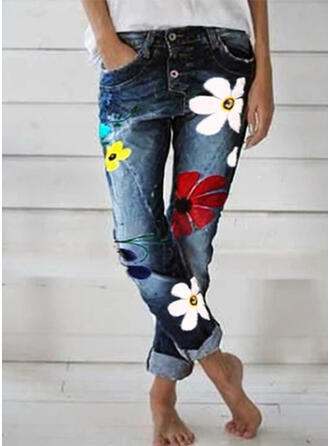 Kwiatowy Nadruk Długo Nieformalny Długi Kwiatowy Dżinsowa Nadruk Spodnie