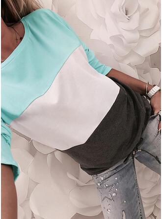 Blok Kolorów Okrągły dekolt Długie rękawy Casual T-shirty