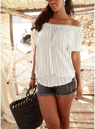 Striped Off the Shoulder Short Sleeves Casual Blouses
