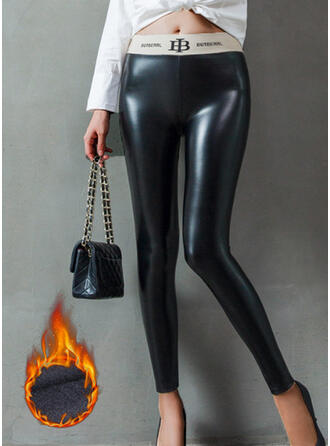 Solid Patchwork Plus Size Sexy Leather Vintage Leggings