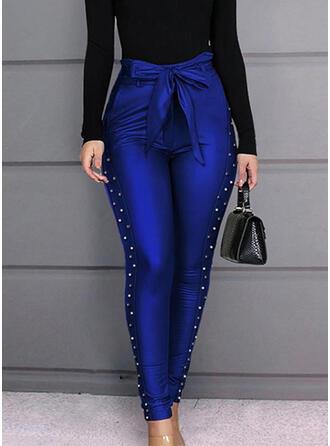 Niejednolita całość Marszczona Kokarda Długo Elegancki Seksowny Spodnie