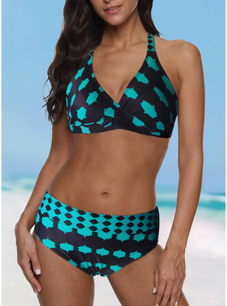 Nadruk Wiązany na szyi Dekolt w kształcie litery V Sport Duży rozmiar Bikini Stroje kąpielowe